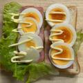 焼きベーコン&茹で卵のサンドイッチ♡