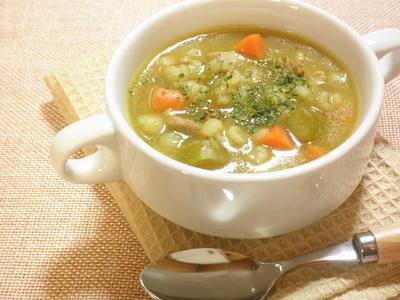 押し麦と鶏肉のカレースープ☆