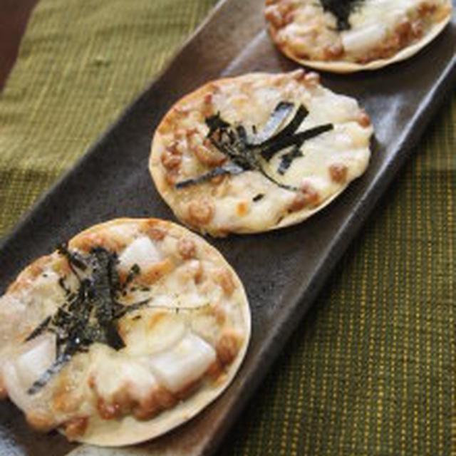 ☆簡単♪ 餃子の皮で 塩麹納豆モチーズピザ☆