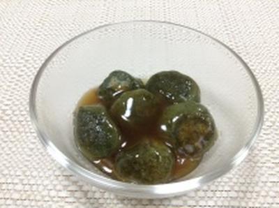 フライパンでみたらし!よもぎ豆腐団子(レシピ)