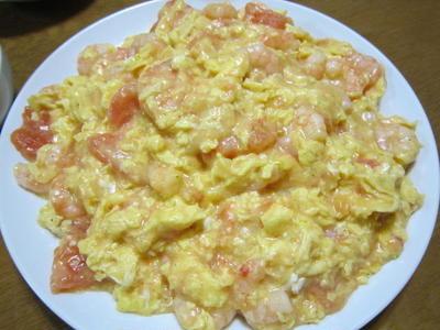 海老とトマトと玉子の中華風炒め