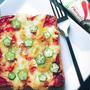 甘くて旨辛〜い☆5分でトマトとオクラのやみつき☆ピザトースト