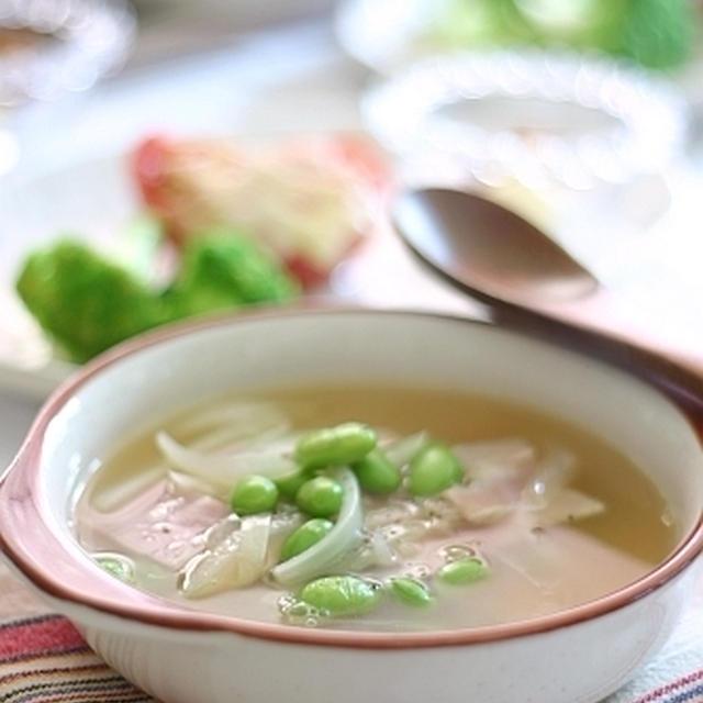 ベーコンと枝豆のスープ