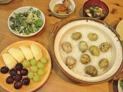 朝から土鍋で 栗の炊きおこわ & 長野の果物と野菜たっぷり♪