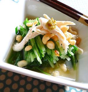 水菜とささ身のピリピリ揚げ玉お浸し♪