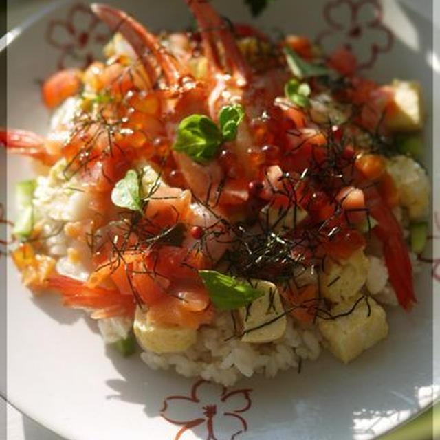 ピンクペパーで♪ お刺身アレンジ洋風ちらし寿司