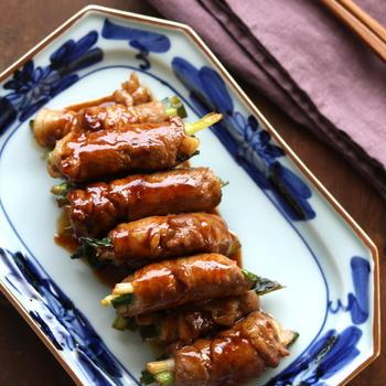 今日の主菜『豚の甘辛ネギ巻き』