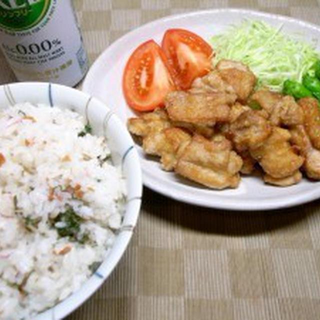 鶏唐揚げ柚胡椒風味、梅シソミョウガの混ぜご飯