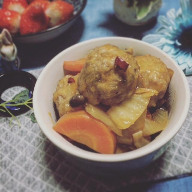 手作り肉団子と野菜の甘酢あん炒め