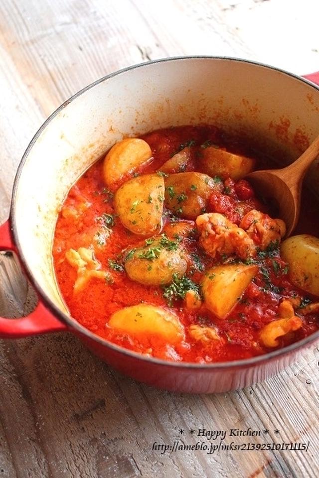 新じゃが、鶏もも肉、トマト缶の煮物