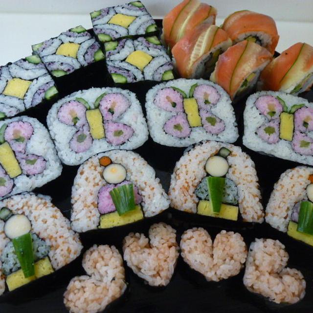 飾り巻き寿司 2月レッスン あげは蝶とひな祭り♪♪ 四海巻きとハート(おまけ)
