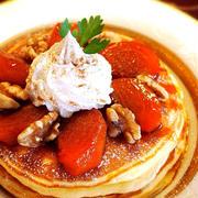 大人のご褒美スイーツ☆柿のキャラメリゼの黄金パンケーキ