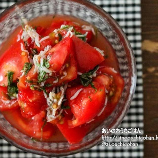 【火を使わない】切って和えるだけ!しらす入りで食べごたえアップ!トマトのしらす入りお浸し