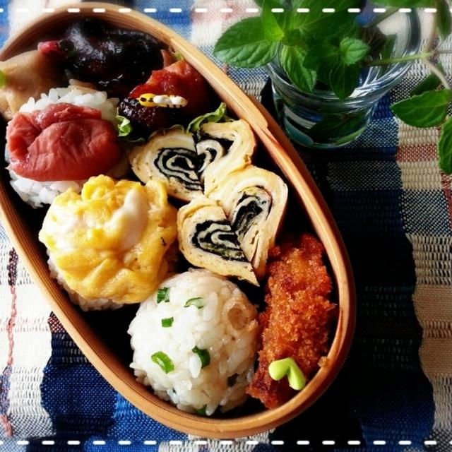 ご多忙次女へハンドパワ~~~注入♡たまマヨおにぎり弁当です♪(*^^*)