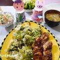 春の食卓。ふきのとうの天ぷら、春色のまぜごはん