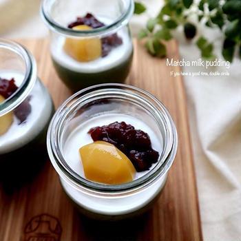 アガーで作る!抹茶ミルクプリン♡【#簡単レシピ#プリン】
