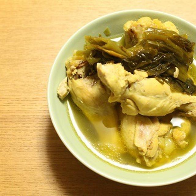 高菜と鶏のスープ。