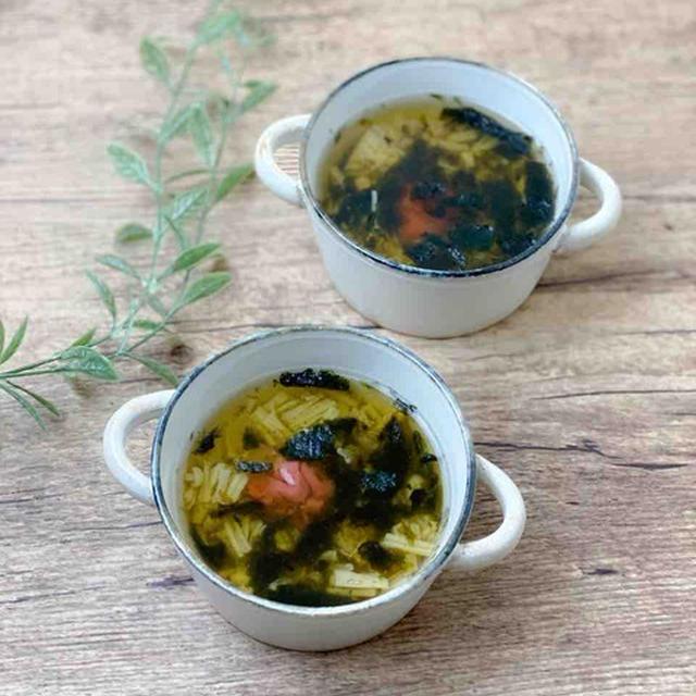 【レシピ】梅とえのきと海苔の和風出汁スープ