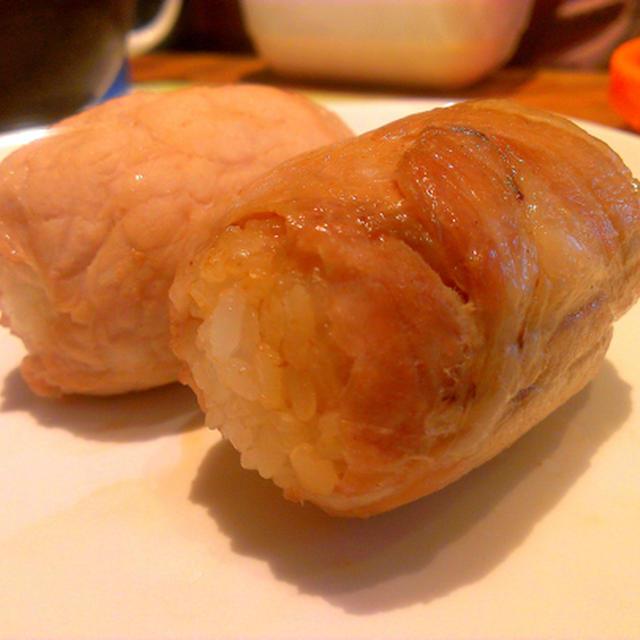 肉巻きおにぎり@ヨシダソースで味付けかんたん♪