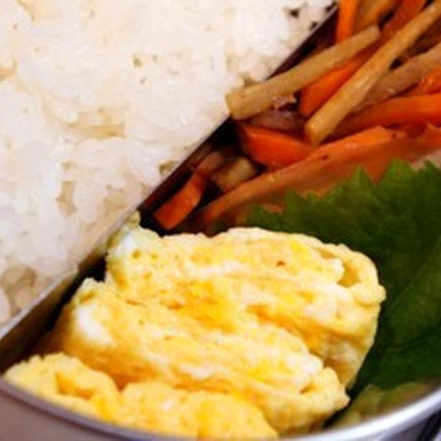世紀末弁当救世主伝説、卵焼きと金平で……茶色い弁当の完成です……