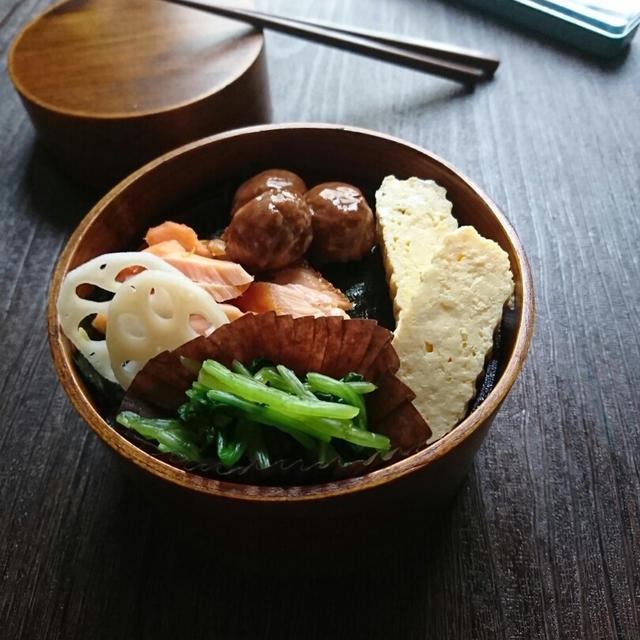にばんの稽古めし朝食〜鮭弁当〜のっけ弁 曲げわっぱまる弁