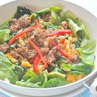 グリーンパンでパラパラ〜料理上手に!野菜たっぷりビーフレタス炒飯。