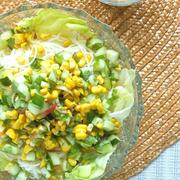 涼味〜香味野菜で爽やか&サッパリ!とうもろこしとキュウリのチョップドサラダ素麺。