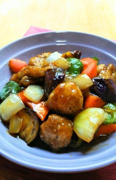 夏野菜の黒酢酢豚☆