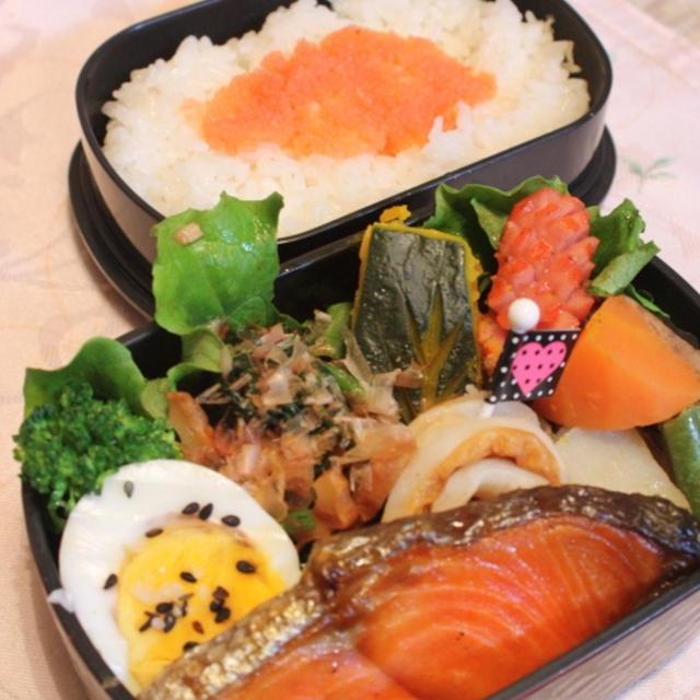 中辛塩紅鮭弁当+明太子ご飯