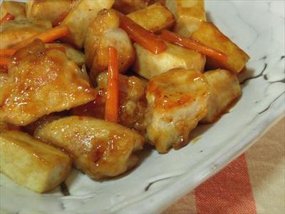 塩豆腐と鶏肉の黒酢あん炒め