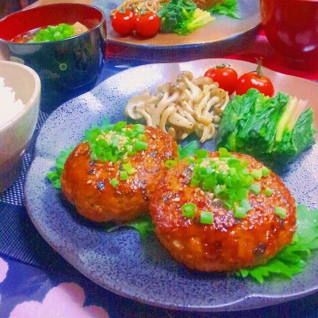 しょうがたっぷりおからパウダー入り豆腐と鶏むね肉の和風ハンバーグ☆