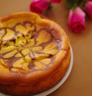 簡単ホットケーキミックスでマーブル模様の濃厚チーズケーキ☆