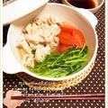 豚肉と豆苗とミニトマトのカラフル3点おかず鍋 by 庭乃桃さん