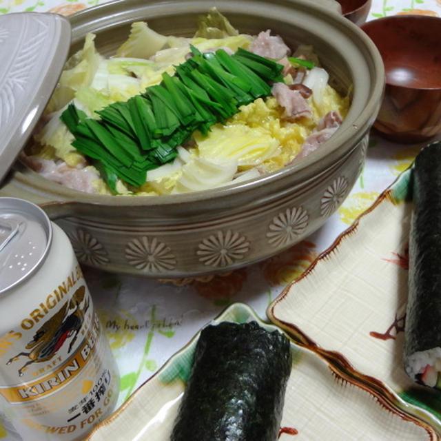 恵方巻き+ウェイパー鍋^^