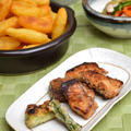 ブリのふっくら味醂揚げ焼き、ベルギーポテト、残り野菜で副菜2品の晩ご飯。
