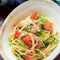 トマトとツナと水菜の冷製ポン酢パスタ【#簡単 #節約 #時短 #混ぜるだけ #夏休み #ランチ #主食】と『献立を考えるのが劇的にラクになる6つの考え方』など