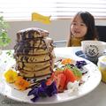 バレンタインにも!全粒粉ホットケーキミックス+豆乳で、パンケーキタワー