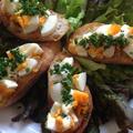 今日の【しろくま君弁当♪】& 微サフバゲットで《ゆで卵のタルティーヌ》と贈り物角食^ - ^