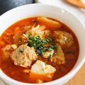 【レシピ】肉団子がごろっと♡キムチスープ