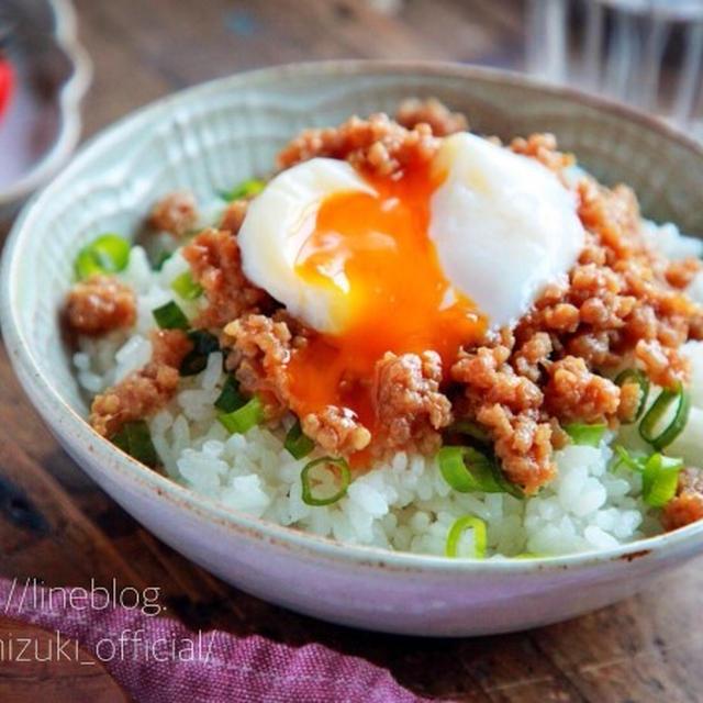 ♡レンジde5分♡至福のそぼろ丼♡【#ひき肉#簡単レシピ#時短#節約#お弁当】