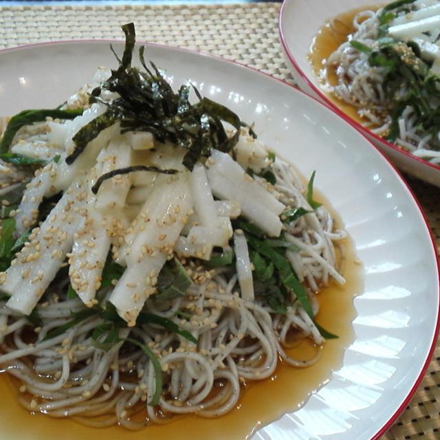 【レシピ】シャキシャキ長芋と大葉のぶっかけそば(^^♪