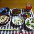【夕食】キーマカレードリア・茄子の揚げ浸し・コリンキーときゅうりのマヨ和え…