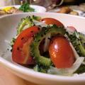 ゴーヤとプチトマトの黒ごまドレサラダ*鶏のガーリックソテー*晩ごはん by オレンジペコさん