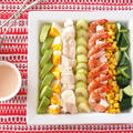 テーブル映え♪ カラフル野菜のコブサラダ クミン風味のオーロラソース添え。