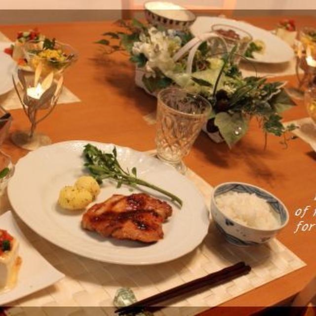 スタミナばっちり♪ みそ漬けポークソテー、コーンの粒マスタードサラダ、サラダやっこで夕ご飯♪