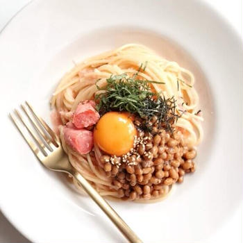 【和えるだけ】たらこと納豆のパスタのレシピ