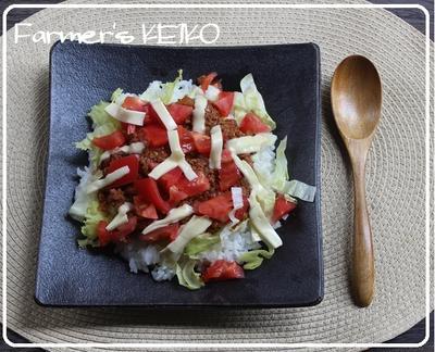 野菜たっぷり「タコライス」の昼ごはん。