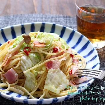 昼カフェ☆ベーコンとキャベツのペペロンチーノ・風景写真瀬戸大橋