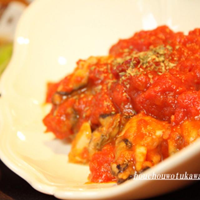 《包丁を使わない料理》衣をまとった牡蠣のトマト煮