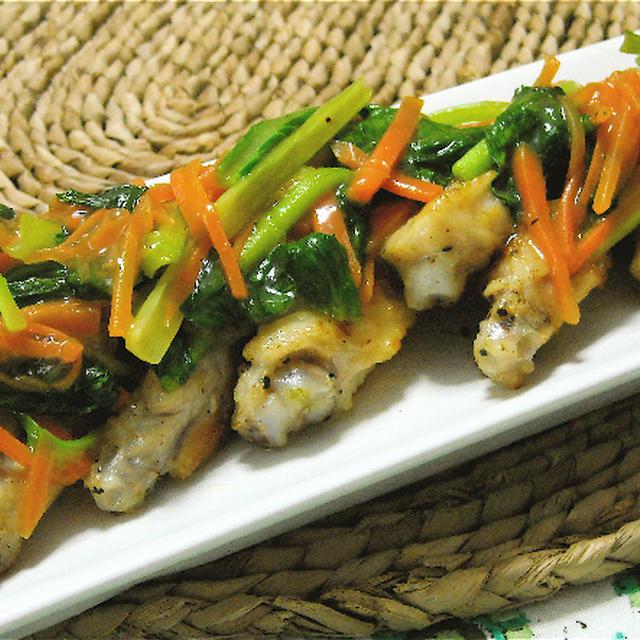 日曜のおウチ居酒屋メニュー、手羽中の野菜たっぷりあんかけ。